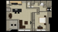 1 Bedroom Balcony Floor Plan
